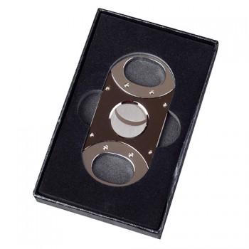 Doutníkový ořezávač ovál široký černý stříbrný
