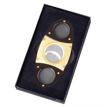 Doutníkový ořezávač ovál zlatý černý